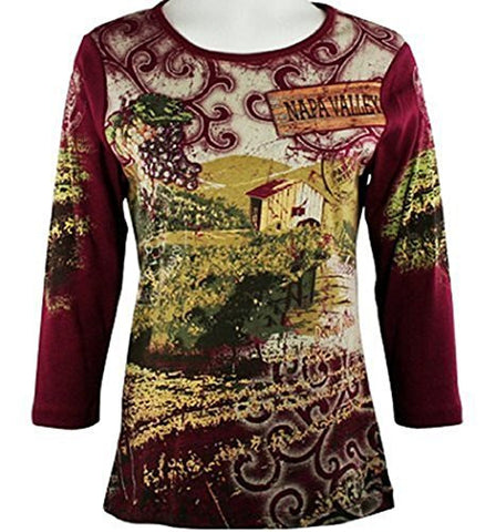 Cactus Fashion - Winery, 3/4 Sleeve, Cotton Print Scoop Neck Rhinestone Top