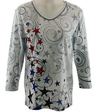 Cactus Bay Apparel - Stars, Rhinestones, V-Neck, White Cotton Top
