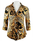 Mesmerize - Leopard Scroll, 3/4 Sleeve, Rhinestone Button Rouching Front Top
