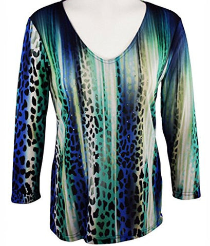 Impulse California - Glazing Animal, 3/4 Sleeve Top with Rhinestone Accents