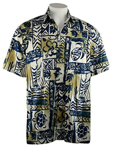 Go Barefoot Outrigger Pareau Banded Collar Classic Hawaiian Shirt Side Vents & Coconut Button