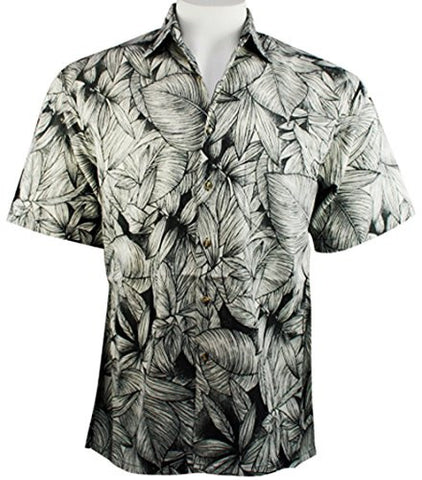 Bamboo Cay - Leaf Cay, Men's Tropical Style Floral Print Button Front Shirt