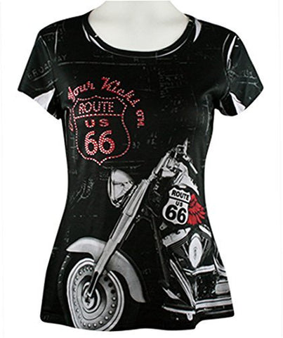 Big Bang Clothing - Get Your Kicks on Rt. 66, Cap Sleeve Scoop Neck Rhinestone Top
