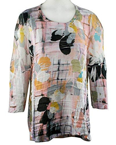 Impulse California - Abstract Floral, Scoop Neck Top w/Ruffles & High Low Hem