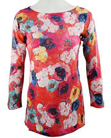 Nally & Millie - Painted Flowers, Abstract Floral, Boat Neck, Lightweight Top