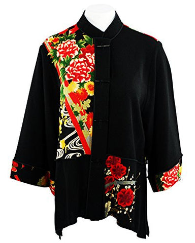 Moonlight - Asian Flower Geo Floral Print, Mandarin Collar, Sharkbite Hem Top