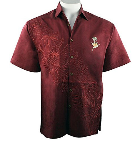 Bamboo Cay - Paradise Bambooquet, Embroidered Tropical Style Burgundy Shirt