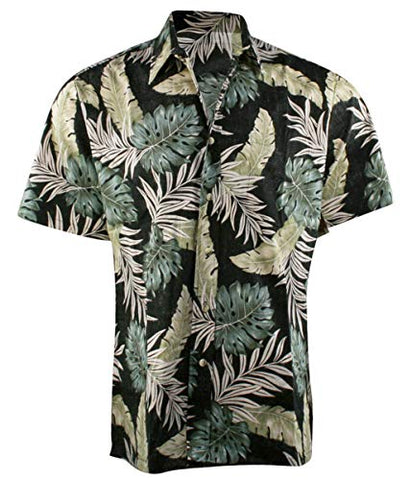 RJC Hawaii Tropic Leaves Single Pocket Button Front Traditional Men's Hawaiian Shirt