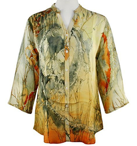 APNY Apparel Asian Scene, V-Neck, Long Sleeve Printed Lightweight Tunic Top
