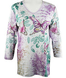 Cactus Bay - Lavender Butterfly, 3/4 Sleeve V-Neck Rhinestone Accent Cotton Top