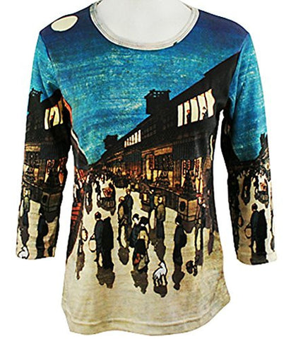 Breeke - Japanese Town Full Moon, 3/4 Sleeve Scoop Neck Hand Silk Screened Top