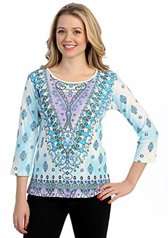Marietta - Vintage Arrays, 3/4 Sleeve Cotton Rhinestone Print Scoop Neck Top