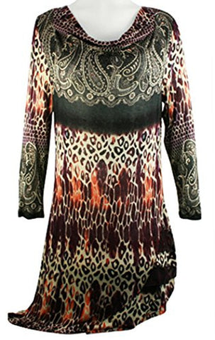 Boho Chic - Leopard Paisley, Drape Neck, Asymmetric Side Seam Tunic Top