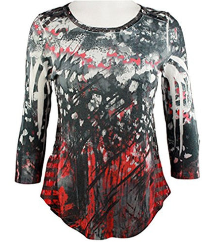 Cubism - Sequin Stripe, 3/4 Sleeve, Flared Bottom Geometric Print Burnout Top