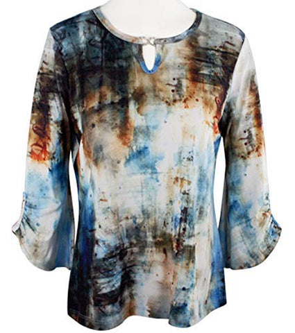 Impulse California - Abstract Colors, 3/4 Flared Sleeve, Scoop Neck Geometric Top