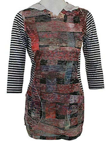 Elvis Laskin Clothing Rectangles & Stripes 3/4 Striped Sleeve Abstract Design Print Top