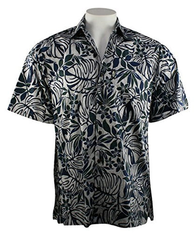 Go Barefoot - Hapa Leaf, Classic Hawaiian Shirt Banded Collar Side Vents & Coconut Buttons