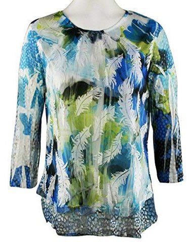 Impulse California Floating Feathers 3/4 Sleeve Sheer Top with Lace Trim Accent