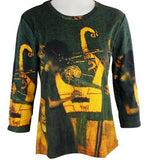Breeke - Gustav Klimt Musique, 3/4 Sleeve, Scoop Neck, Woman's Fashion Top