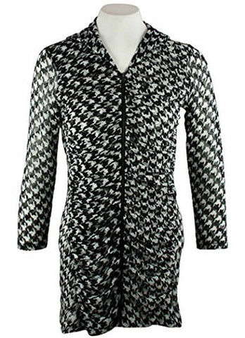 Boho Chic - Focused, Houndstooth Pattern Zip Front Hooded Tunic