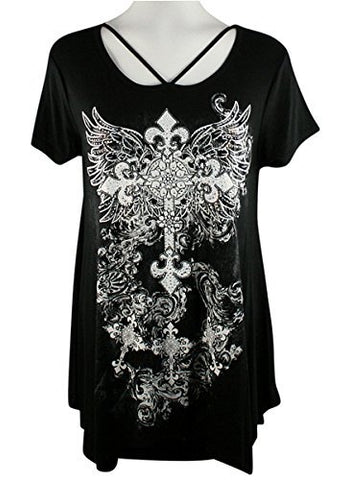 Big Bang Clothing - Ancient Cross, Cap Sleeve, Scoop Neck Rhinestone Print Top