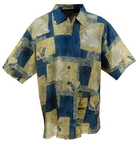 Luau Bamboo Viscose, Sapphire Tee, Men's Shirt Accent Color Twill Taping