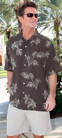 Luau Palm Grove Sportswear Brown, Silk Runway Weave, & Mother of Pearl Buttons