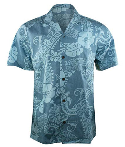 RJC Hawaii Tropical Abstract Single Pocket Button Front Traditional Men's Hawaiian Shirt