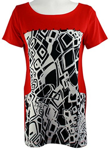 Isabel Clothing - Rectangles, Short Sleeve Fashion Tunic on a Geometric Print