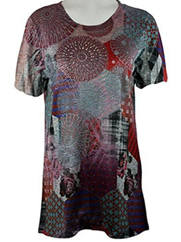 Cactus Fashion - Patchwork Pattern, Short Sleeve Rhinestone Print Sublimation Top