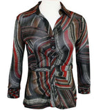 Boho Chic Spread Collar, Button Front, Black & Red Womens Top - All Over Stripes