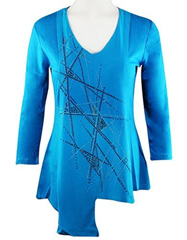 Crystaline Collections Crystal Sticks, Swarovski Crystal Accent 3/4 Sleeve Fashion Top