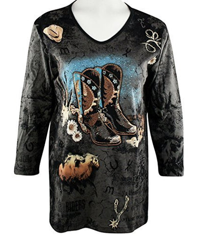 Cactus Bay Apparel - Black Boots, 3/4 Sleeve, Rhinestone Accents Cotton Print Top
