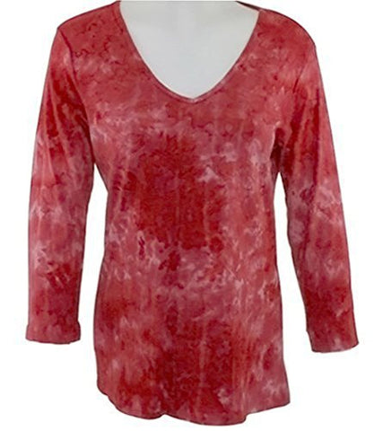 Impulse California - Rose Zircon, Rhinestone Print, V-Neck Top