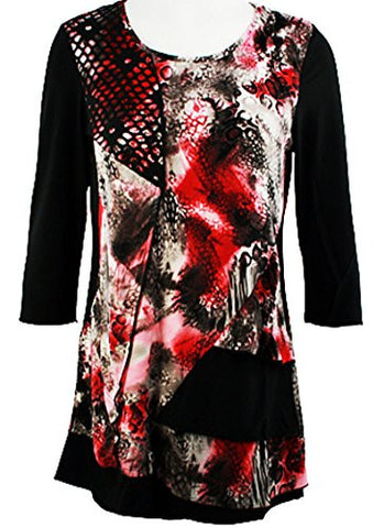 Creation - Illusions, 3/4 Sleeve Scoop Neck Geometric Print Tunic Top