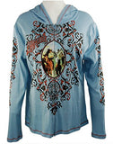 Cactus Fashion - Cowgirl & Ornament, Cotton Print Rhinestone Hoodie Top
