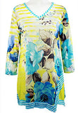 Cactus Fashion - Striped Blue Flowers, 3/4 Sleeve V-Neck, Rhinestone Print Tunic
