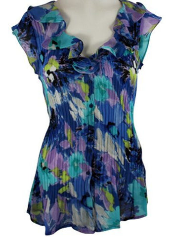 Cathaya Cap Sleeve, Pleated Floral Print with a V-Neck Ruffle Collar