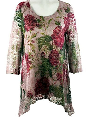 California Bloom - Flowers & Lace, Floral Print Neck with a Lace Accented Front