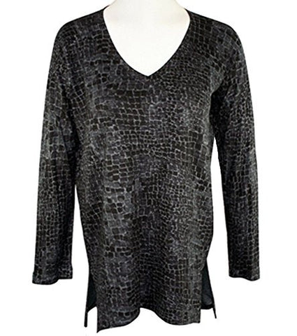 Nally & Millie- Tiled Blocks, V-Neck Long Sleeve Hi-Low Geometric Print Tunic