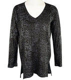 Nally & Millie-Tiled Blocks, V-Neck, Long Sleeve Geometric Tunic Top