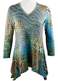 Boho Chic - Savanna Roads, Long Sleeve Sharkbite Hem V-Neck Tunic Top