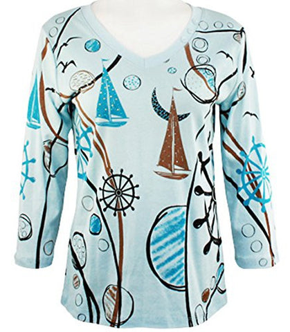 Cactus Fashion V-Neck 3/4 Sleeve Cotton Print Rhinestone Blue Top - Geo & Ship