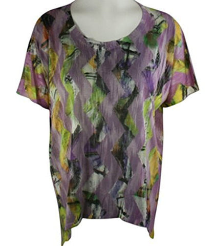 Nally & Millie - Purple Zig-Zag, Scoop Neck Tunic on a Hi-Low Sleeve Body