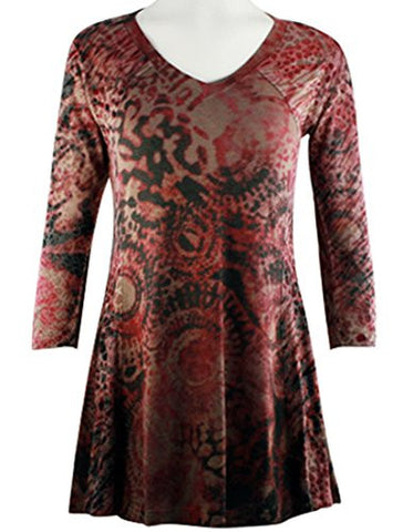 Cubism Apparel - Cascade Red, 3/4 Sleeve, V-Neck Woman's Fashion Tunic Top