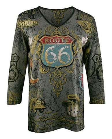 Cactus Bay - Historic Rt 66, 3/4 Sleeve, V-Neck, Rhinestone Accents Cotton Top