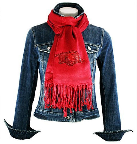 Collegiate Fashionista University of Arkansas Pashmina, Rhinestone School Logo