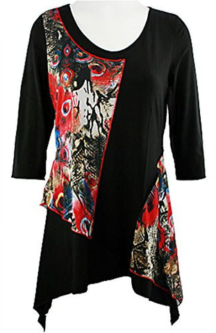 Creation - Red Peacock Feathers, Asymmetric Hem Geometric Print Tunic Top