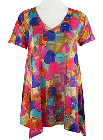 Nally & Millie - Painted Circles, Scoop Neck Short Sleeve Lightweight Tunic Top