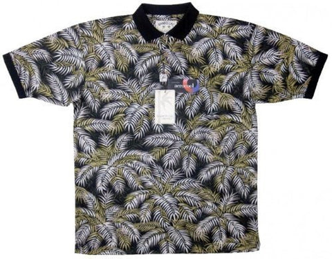 Bamboo Cay - All Over Palm Leaves, Tropical Style, Moisture Wicking Polo Shirt